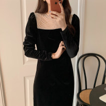Dress Winter 2020 black S,M,L longuette singleton  Long sleeves commute Crew neck High waist Solid color Socket other 18-24 years old Other / other Splicing polyester fiber
