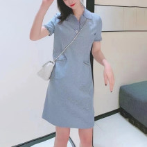 Dress Solid color Summer 2021 Other Short sleeve singleton  commute Pinge Dixin Polo collar middle-waisted other routine other More than 95% other Type A other Middle-skirt 2 / s, 3 / m, 4 / L, 5 / XL