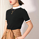 T-shirt black 2 / s, 3 / m, 4 / L, 5 / XL Summer 2021 Short sleeve Half high collar Self cultivation Regular routine commute other 71% (inclusive) - 85% (inclusive) Simplicity classic Color matching Pinge Dixin Color matching