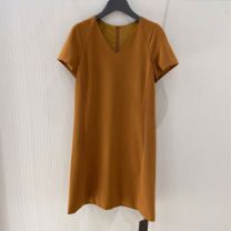 Dress Summer 2021 Black, red, pink, brown 2 = s, 3 = m, 4 = L, 5 = XL Middle-skirt singleton  Short sleeve commute V-neck middle-waisted Solid color Socket other routine Others Type H O'amash banner Ol style 31% (inclusive) - 50% (inclusive)