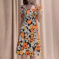 Dress Summer 2021 Decor 1, decor 2, dot, print 3 2 / s, 3 / m, 4 / L, 5 / XL Middle-skirt singleton  Short sleeve commute One word collar middle-waisted Decor Socket other routine Others O'amash banner Ol style More than 95% other cotton