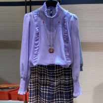 shirt Light blue, off white, white, light purple 2 = s, 3 = m, 4 = L, 5 = XL Spring 2021 other 96% and above Long sleeves Versatile Regular stand collar Socket routine Solid color Straight cylinder Novel goldette