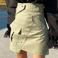 skirt Spring 2021 S, M Army green, white Short skirt commute High waist A-line skirt Solid color Type A 18-24 years old 51% (inclusive) - 70% (inclusive) cotton Pocket, button Korean version