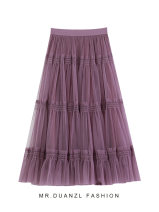 skirt Autumn 2020 80-120 Jin Blue, purple Mid length dress fresh High waist A-line skirt Solid color Type A 18-24 years old Splicing