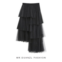 skirt Autumn of 2019 Average size Apricot, black, pink, grayish blue Mid length dress fresh High waist Irregular Solid color Type A 18-24 years old Flounce, mesh, stitching