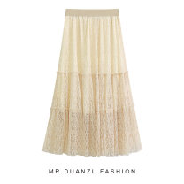 skirt Winter of 2019 Average size Apricot, black, white Mid length dress fresh High waist A-line skirt Solid color Type A 18-24 years old fold
