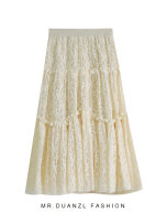 skirt Autumn 2020 80-120 Jin Apricot, black, coffee Mid length dress fresh High waist A-line skirt Solid color Type A 18-24 years old Stitching, lace