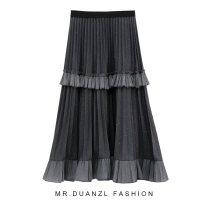 skirt Autumn 2020 80-120 Jin Dark grey, black, apricot longuette commute High waist Cake skirt Solid color Type A 18-24 years old knitting polyester fiber Splicing Korean version