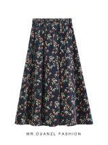 skirt Autumn 2020 80-120 Jin Navy, coffee Mid length dress grace High waist A-line skirt Broken flowers Type A 18-24 years old Broken flowers