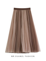skirt Autumn 2020 80-120 Jin Apricot, black, coffee, dark coffee Mid length dress grace High waist A-line skirt Solid color Type A 18-24 years old Mesh, stitching