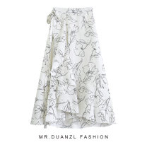 skirt Summer 2021 80-120 Jin white Mid length dress fresh High waist Ruffle Skirt other Type A 18-24 years old printing