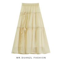 skirt Summer 2021 80-120 Jin Mid length dress fresh High waist A-line skirt Solid color Type A 18-24 years old Bow tie