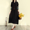 Women's large Winter of 2019, autumn of 2019 Black, red, green Large XL, large XXL, large L, M Dress singleton  commute easy moderate Socket Nine point sleeve Solid color literature stand collar Medium length Cotton, hemp routine 25-29 years old Embroidery 31% (inclusive) - 50% (inclusive)