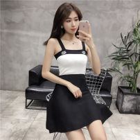 Dress Spring of 2019 Average size Middle-skirt singleton  Sleeveless commute square neck High waist Abstract pattern Socket A-line skirt camisole 18-24 years old Type A Other / other Korean version Splicing
