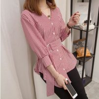 Women's large Spring of 2019 Black and white stripes, red and white stripes Large XL, large XXL, large XXL, large XXXXL, large L, M shirt singleton  commute Self cultivation moderate Cardigan Nine point sleeve Korean version V-neck routine bishop sleeve 18-24 years old Asymmetry