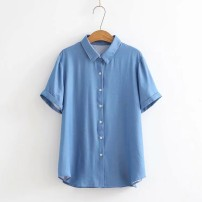Middle aged and old women's wear Summer of 2019 Blue, black XL,XXL,3XL,4XL leisure time shirt easy singleton  Solid color Cardigan thin Polo collar routine routine Other / other cotton 96% and above