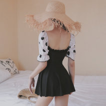one piece  card M,L,XL black With chest pad without steel support female Short sleeve Casual swimsuit