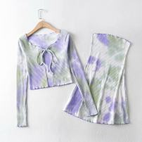Fashion suit Autumn 2020 S, M Brown, blue, black and white, violet green