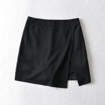 skirt Spring 2021 S,M,L black Short skirt commute High waist A-line skirt Solid color Type A polyester fiber zipper