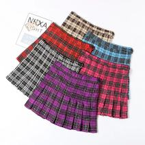 skirt Summer of 2018 XS.,S.,M.,L.,XL. Black lattice, red lattice, red lattice, apricot lattice, purplish red lattice, blue lattice Versatile A-line skirt