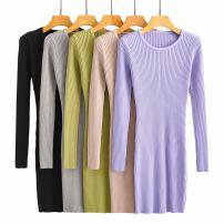 Dress Autumn 2020 Black, light gray, khaki, snow purple, Mango Green Average size longuette singleton  Long sleeves street Crew neck High waist routine