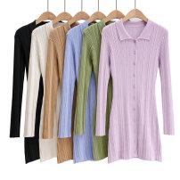 Dress Autumn 2020 Black, white, blue, purple, dark coffee, green S.,M. Short skirt singleton  Long sleeves street Polo collar routine
