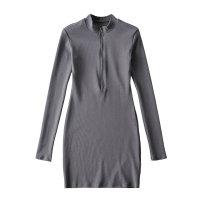 Dress Spring 2021 Black, dark grey S, M Long sleeves street Solid color Socket routine zipper Europe and America