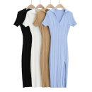 Dress Spring 2021 White, black, khaki, blue S, M Short sleeve street High waist Solid color Socket A-line skirt routine Splicing 30% and below knitting polyester fiber