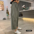 Casual pants Summer of 2019 Ninth pants Straight pants High waist Versatile routine 18-24 years old 51% (inclusive) - 70% (inclusive) jupe vendue other fold cotton