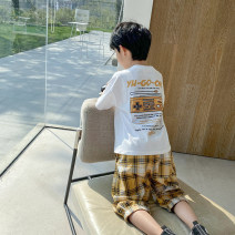 suit Haima house Yellow, white 110cm,120cm,130cm,140cm,150cm,160cm male summer Korean version Short sleeve + pants 2 pieces Thin money There are models in the real shooting Socket nothing letter cotton children 21bz05 Class B Cotton 95% polyurethane elastic fiber (spandex) 5% Chinese Mainland