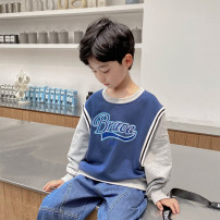 Sweater / sweater Haima house Malachite blue male 110cm,120cm,130cm,140cm,150cm,160cm spring and autumn nothing Korean version Socket routine There are models in the real shooting cotton letter Cotton 95% polyurethane elastic fiber (spandex) 5% Class B