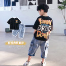 suit Haima house black 100cm, 110cm, 120cm, 130cm, 140cm, 150cm and 160cm respectively male summer Korean version Short sleeve + pants 2 pieces routine Socket nothing other cotton children Expression of love Class B 2, 3, 4, 5, 6, 7, 8, 9, 10, 11