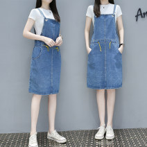 Dress Summer 2021 Single blue strap skirt L,XL,2XL,3XL,4XL Middle-skirt singleton  Sleeveless commute square neck Elastic waist Solid color Socket One pace skirt straps Type H Korean version pocket 71% (inclusive) - 80% (inclusive) Denim cotton