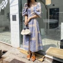Dress Summer 2021 Red, blue, black Average size Mid length dress singleton  Short sleeve commute One word collar High waist Big swing Others Type A Korean version Backless, pleated, printed