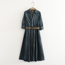 Dress Autumn of 2018 Old dark blue M,L,XL,2XL longuette singleton  three quarter sleeve commute V-neck High waist Solid color Single breasted Ruffle Skirt other Others 25-29 years old Type X Other / other More than 95% Denim cotton