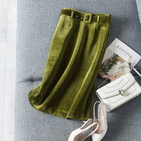 skirt Autumn 2020 S,M,L,XL Retro Tess green, obsidian black Middle-skirt commute High waist skirt Solid color Type H Ol style
