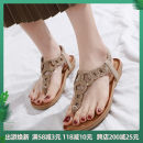 Sandals 36,37,38,39,40,41,42 Blue, apricot, brown Superfine fiber Liu Xiaoxiao Pinch toe Flat heel Middle heel (3-5cm) Spring 2020 Elastic band leisure time Solid color Adhesive shoes Youth (18-40 years old) TPR (tendon) sandy beach Ankle strap Hollow out, Rhinestone, Roman style Low Gang Hollow PU