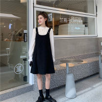 Dress Autumn 2020 White shirt, black skirt S, M Middle-skirt Two piece set Long sleeves commute Solid color routine Korean version 51% (inclusive) - 70% (inclusive) other cotton