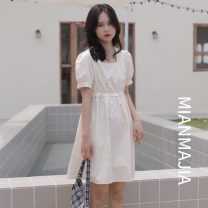 Dress other Summer 2021 Middle-skirt Short sleeve singleton  commute Solid color square neck High waist Condom other 18-24 years old other 51% (inclusive) - 70% (inclusive) Type A cotton Other Korean version XS,S,M,L