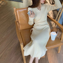 Dress Winter 2020 Gray, black, light yellow S,M,L,XL longuette singleton  Long sleeves commute V-neck High waist Solid color Socket A-line skirt routine Others 25-29 years old Korean version other other