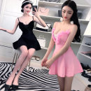Dress Spring of 2018 Rose, white, pink, black S,M,L Short skirt singleton  Sleeveless Sweet V-neck High waist Solid color zipper Big swing camisole 18-24 years old Type A Other / other backless