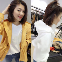 Windbreaker Spring of 2019 S,M,L Long sleeves routine street Single breasted Half open collar other Solid color Bat type Fanlis F171e1709p 30-34 years old 96% and above cotton Europe and America