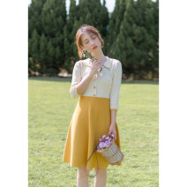 Dress Autumn 2020 yellow S,M,L Short skirt singleton  three quarter sleeve commute Polo collar High waist Solid color Socket A-line skirt routine Others 18-24 years old Type X Korean version Stitching, buttons, resin fixation More than 95% knitting other