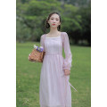 Dress Spring 2021 Purple powder XS,S,M,L Mid length dress singleton  Long sleeves commute square neck High waist Solid color zipper A-line skirt pagoda sleeve Others 18-24 years old Type X lady Auricularia auricula, splicing, Sequin, zipper, resin fixation More than 95% Chiffon other