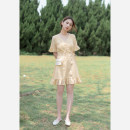 Dress Summer 2021 yellow XS,S,M,L Short skirt singleton  Short sleeve commute V-neck High waist lattice other pagoda sleeve Others 18-24 years old Type X Retro Lace up, button, resin fixation More than 95% other other