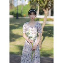 Dress Summer 2021 violet XS,S,M,L Mid length dress singleton  Short sleeve commute V-neck High waist Broken flowers zipper A-line skirt puff sleeve Others 18-24 years old Type X Retro Pleating, zipper, resin fixation, printing More than 95% other other