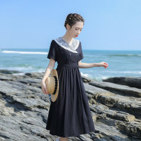 Dress Summer 2021 black XS,S,M,L Mid length dress singleton  Short sleeve commute Polo collar High waist Solid color zipper A-line skirt routine Others 18-24 years old Type X Retro Stitching, button, zipper, resin fixation, lace More than 95% other other