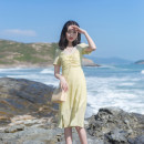 Dress Summer 2021 yellow XS,S,M,L Mid length dress singleton  Short sleeve commute V-neck High waist Solid color zipper A-line skirt routine Others 18-24 years old Type X Retro Pleating, stitching, mesh, zipper, resin fixation More than 95% other