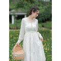 Dress Spring 2021 white XS,S,M,L Mid length dress singleton  Long sleeves commute square neck High waist Solid color zipper A-line skirt routine Others 18-24 years old Type X lady Stitching, button, zipper, resin fixation, lace More than 95% Lace other
