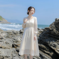 Dress Spring 2021 Apricot XS,S,M,L Mid length dress singleton  Long sleeves commute V-neck High waist Solid color Single breasted A-line skirt routine Others 18-24 years old Type X Retro Fold, button, resin fixation More than 95% other other